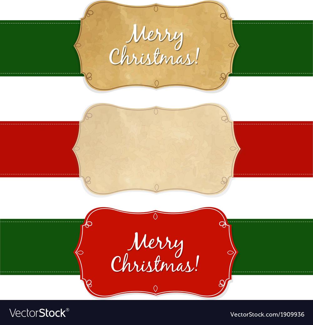 Set vintage christmas labels vector | Price: 1 Credit (USD $1)