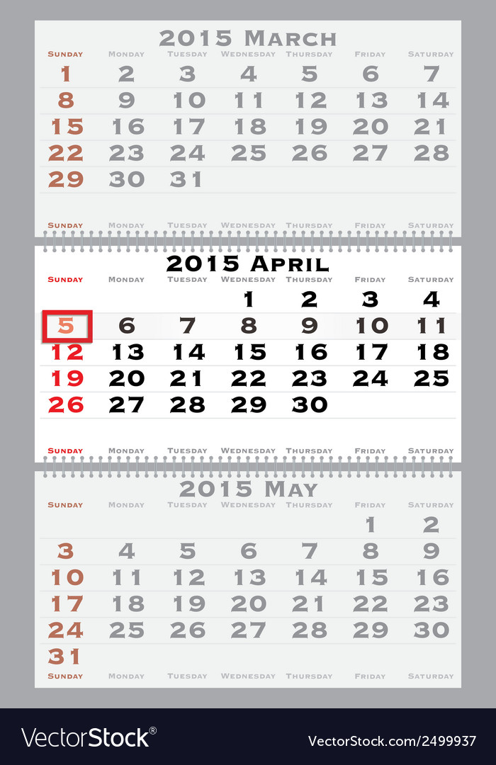 2015 april with red dating mark vector | Price: 1 Credit (USD $1)