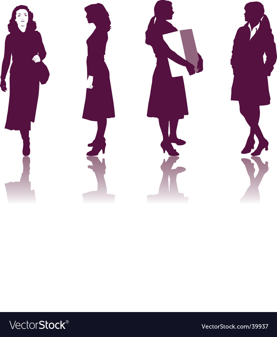 Business women silhouettes vector