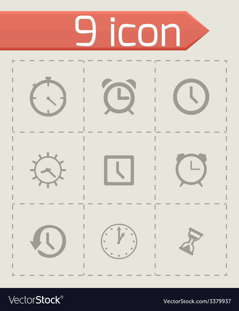 Clock icon set vector   Price: 1 Credit (USD $1)