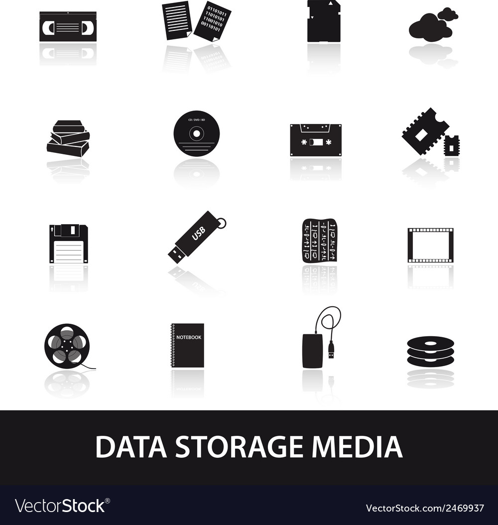 Data storage media icons eps10 vector | Price: 1 Credit (USD $1)