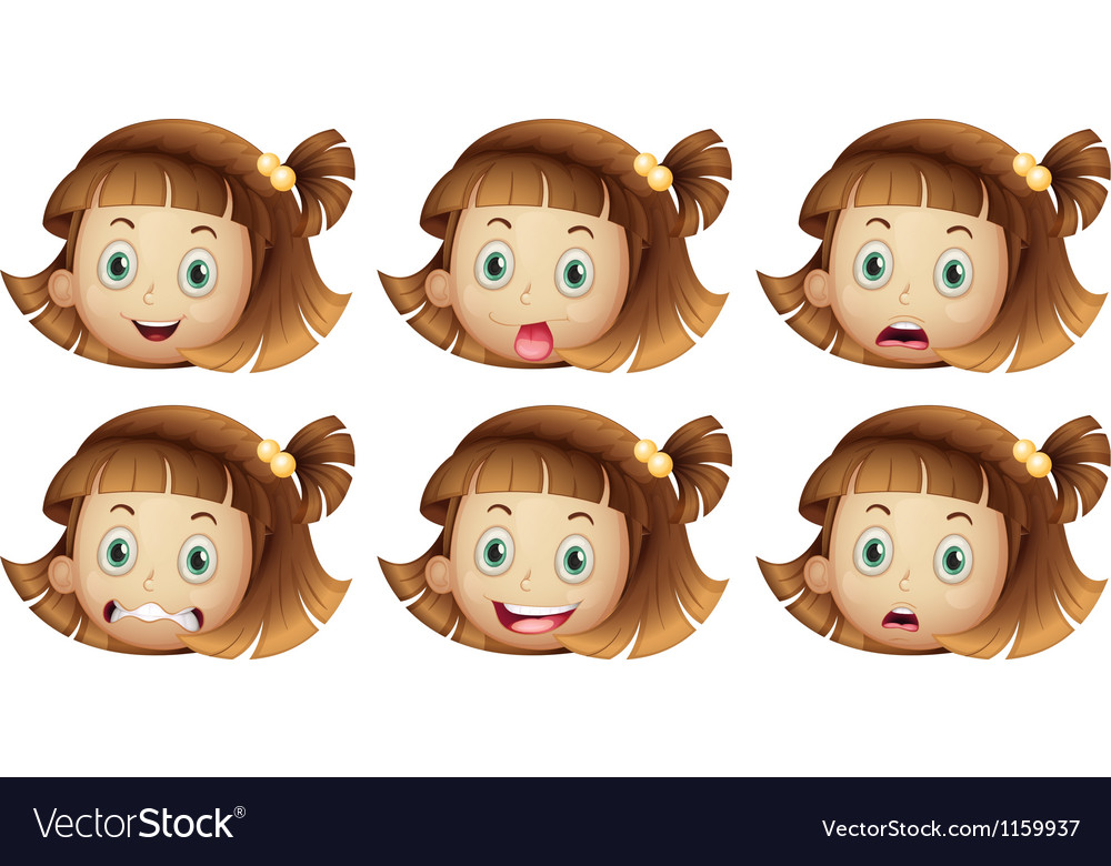 Different facial expressions of a girl vector | Price: 1 Credit (USD $1)