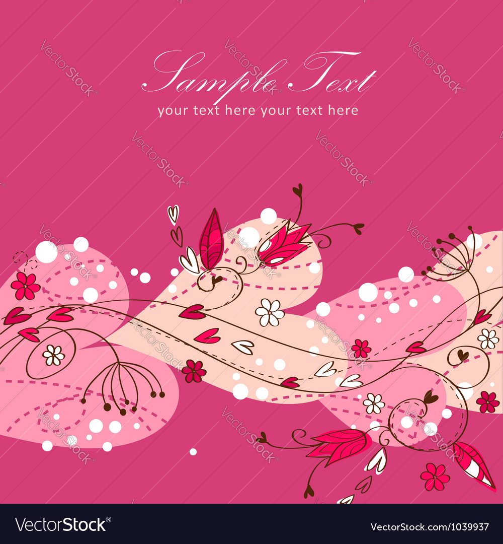 Elegant valentine love floral postcard vector | Price: 1 Credit (USD $1)