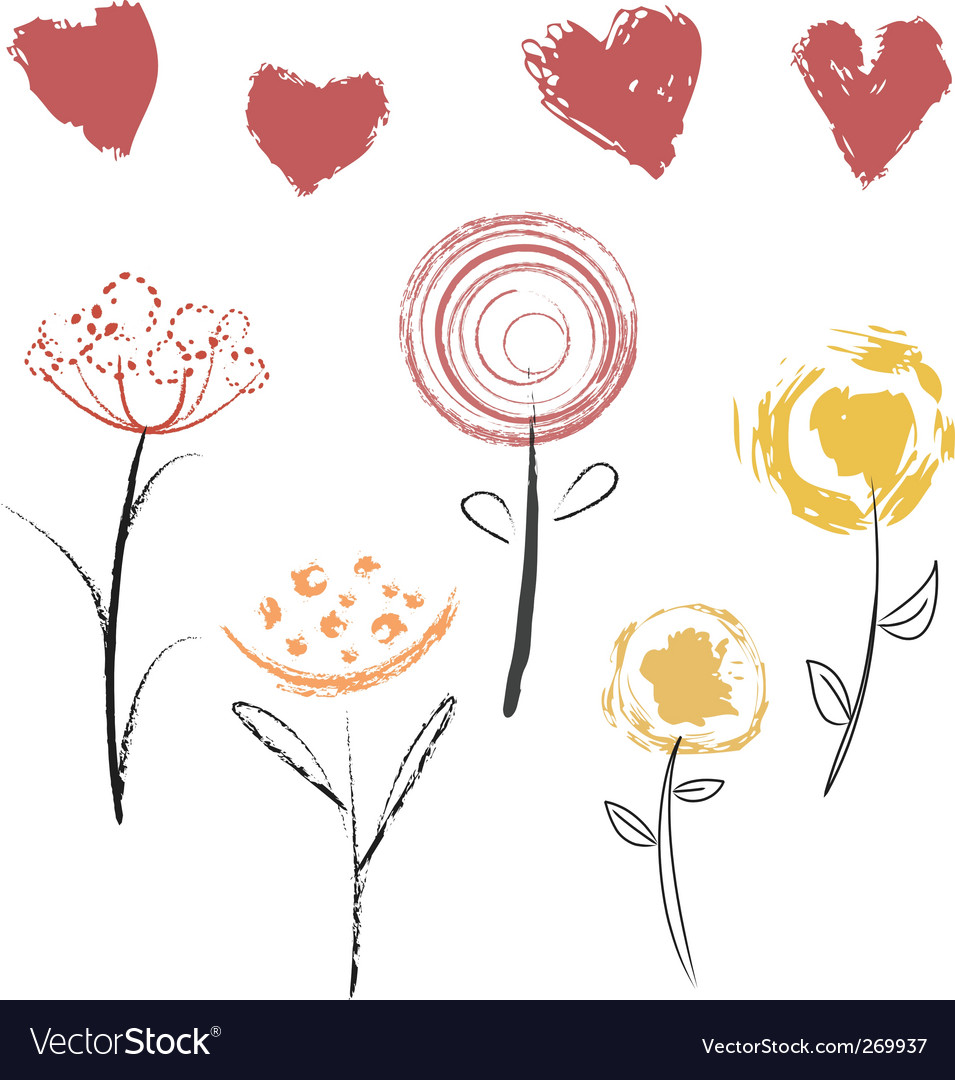 Flowers and hearts vector   Price: 1 Credit (USD $1)