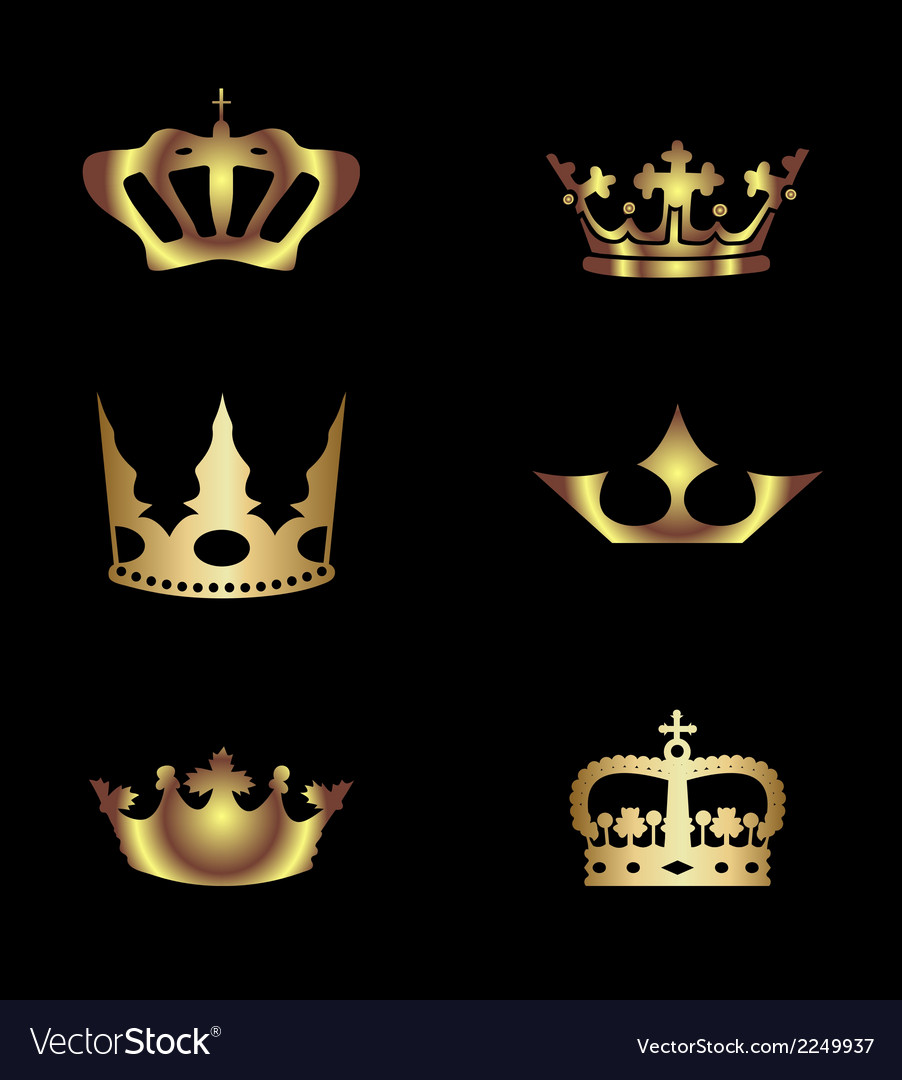 Golden royal crowns vector | Price: 1 Credit (USD $1)