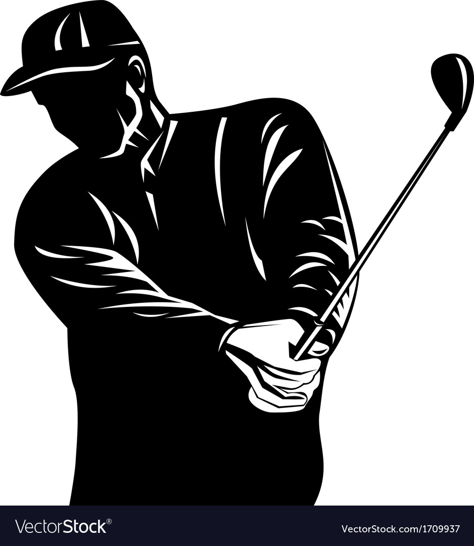 Golfer swinging club black and white retro vector | Price: 1 Credit (USD $1)