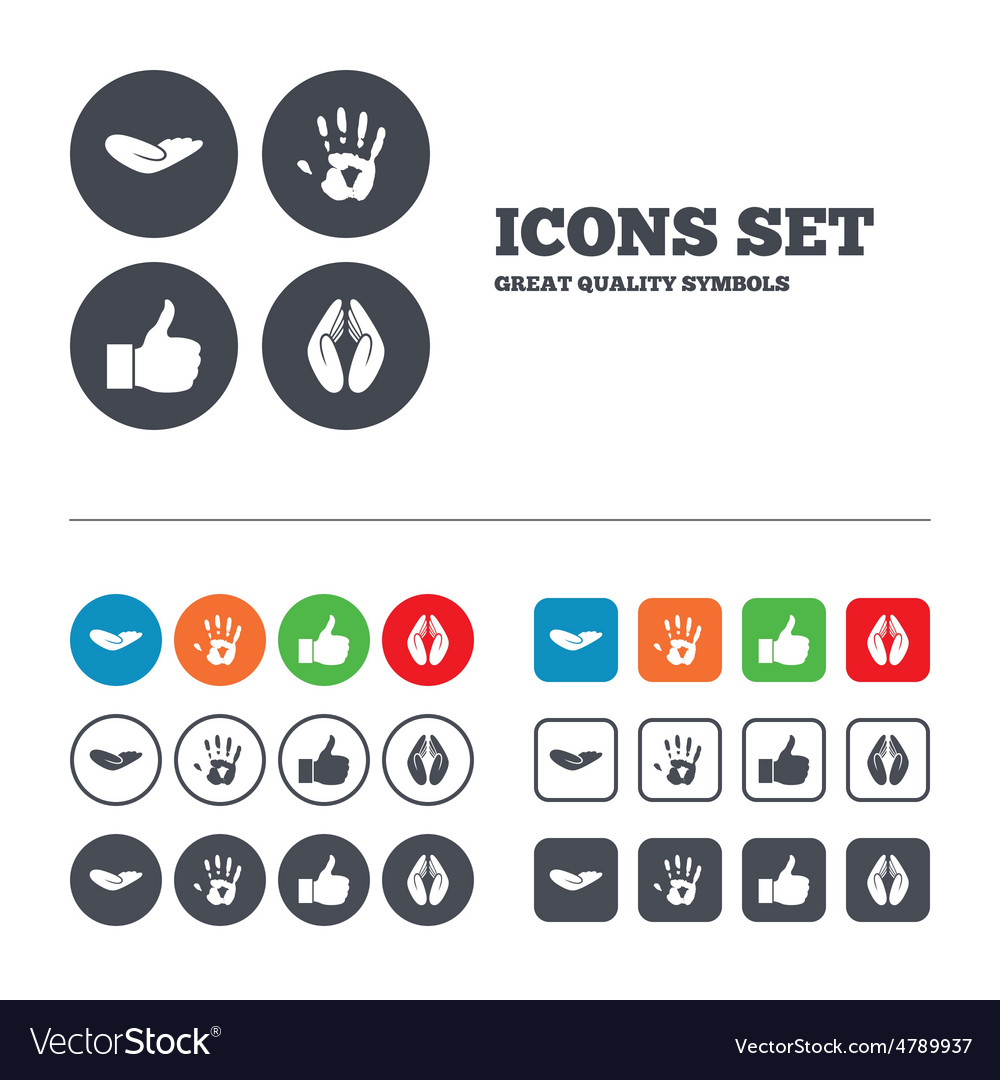 Hand icons like thumb up and insurance symbols vector | Price: 1 Credit (USD $1)