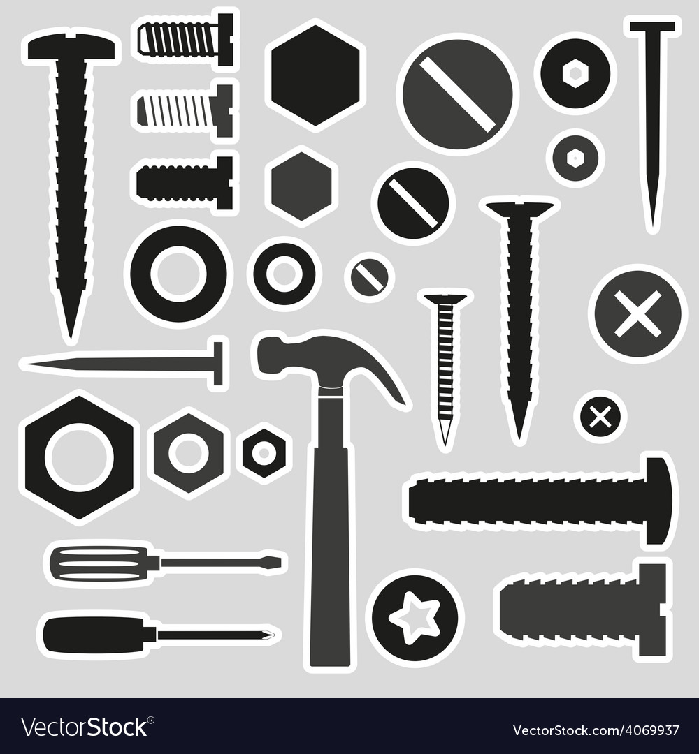 Hardware screws and nails with tools stickers vector | Price: 1 Credit (USD $1)