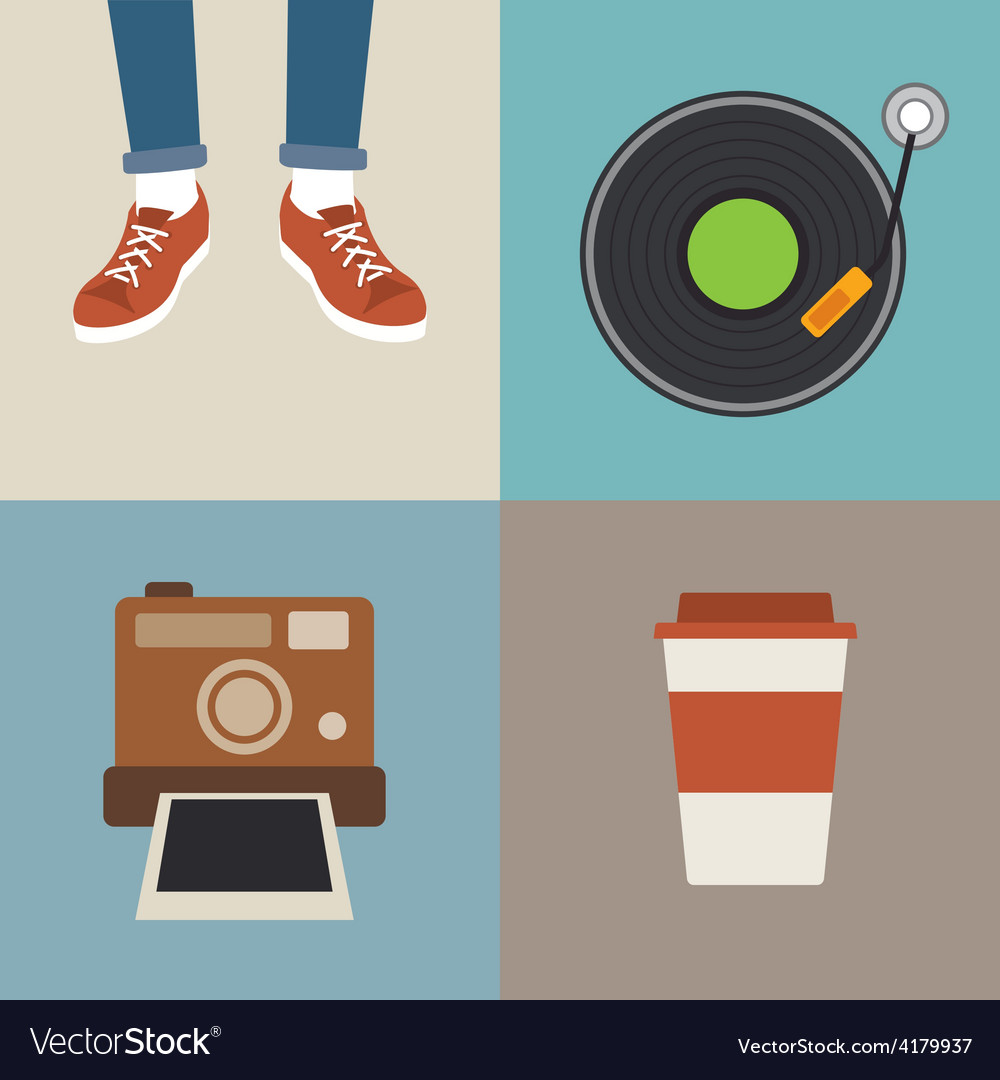 Hipster element flat design vector | Price: 1 Credit (USD $1)