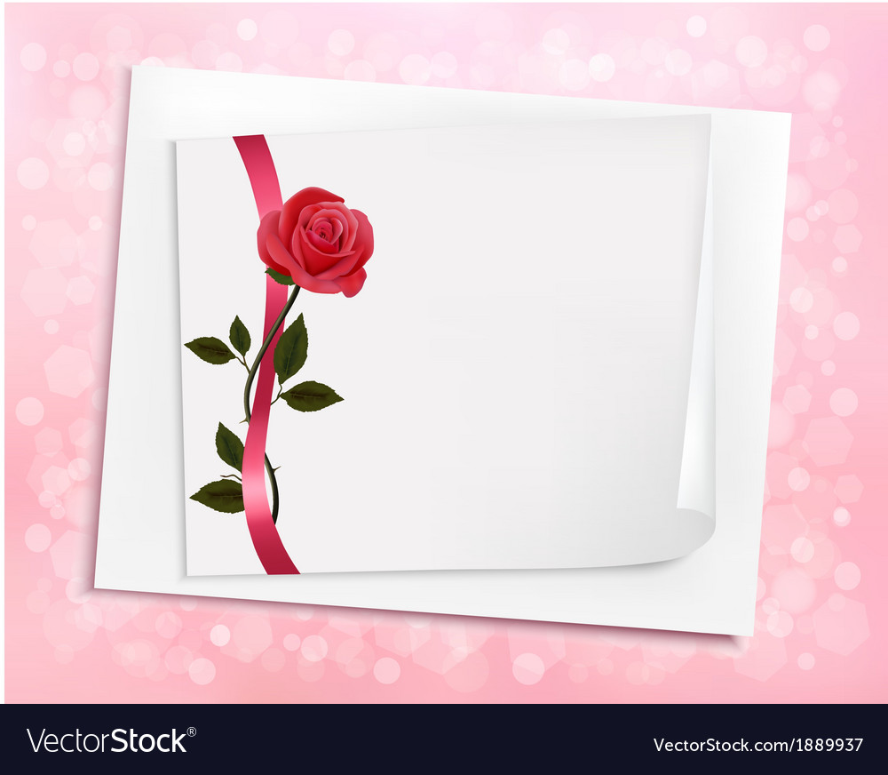 Holiday background with sheet of paper and a rose vector | Price: 1 Credit (USD $1)