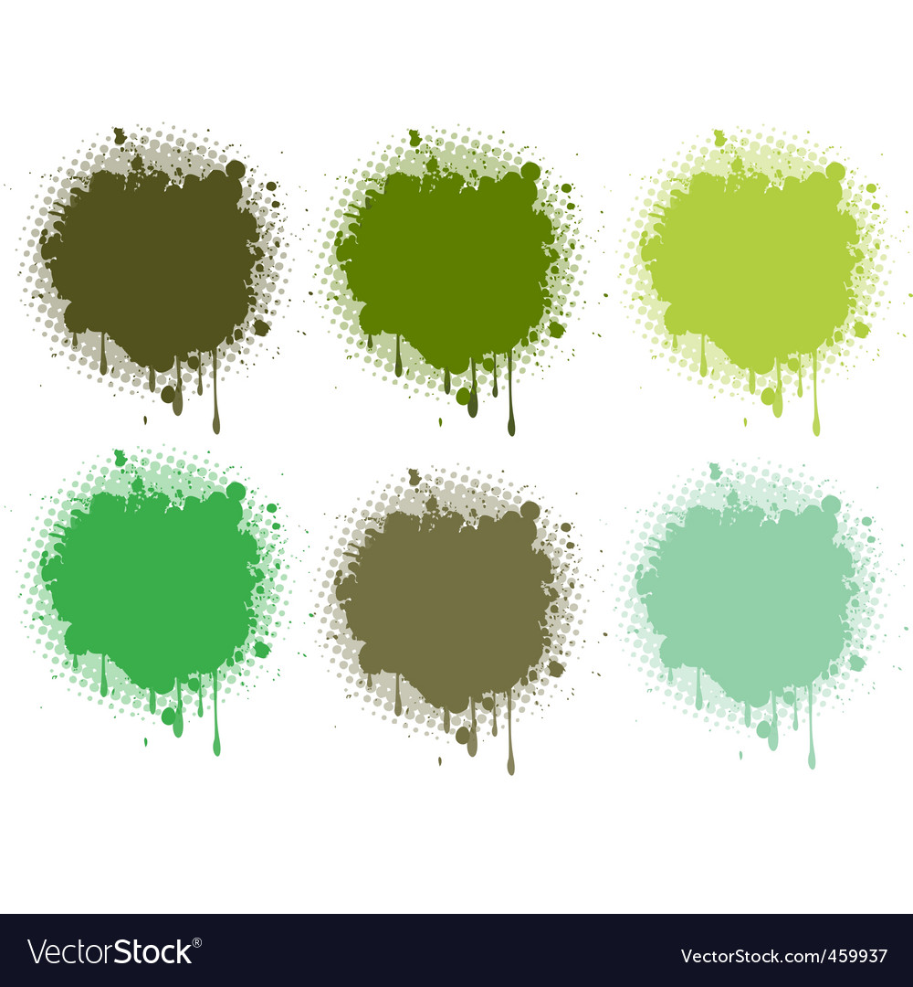 Splash retro green collection vector | Price: 1 Credit (USD $1)