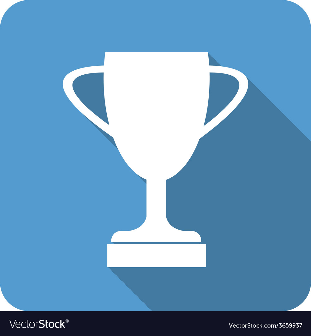 Trophy cup flat icon with long shadow vector | Price: 1 Credit (USD $1)
