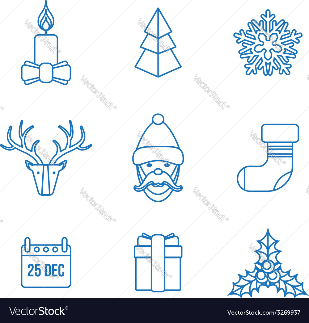 Various christmas outline icons set vector | Price: 1 Credit (USD $1)