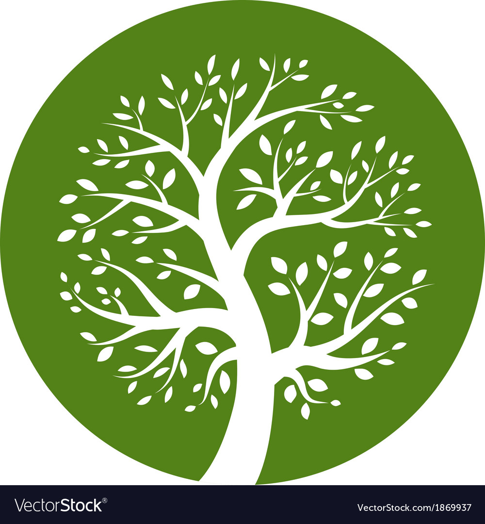 White tree icon in green round vector | Price: 1 Credit (USD $1)