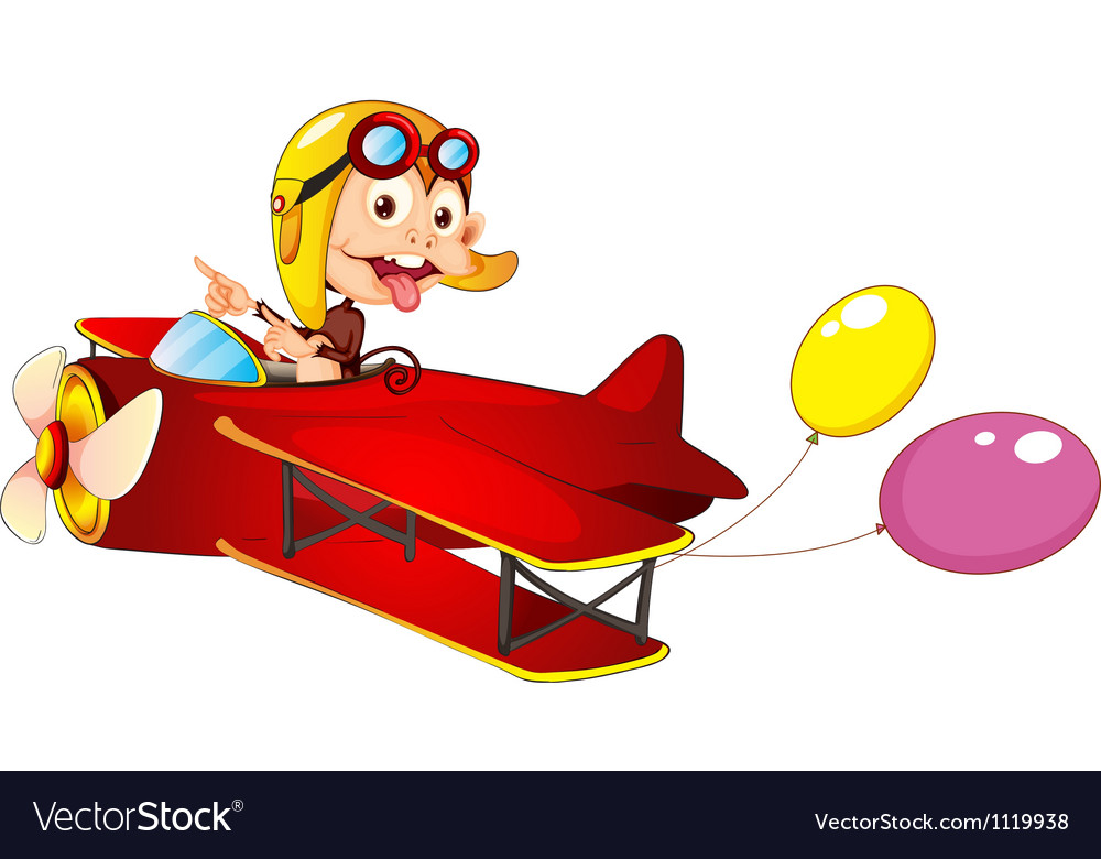 A monkey in airplane vector | Price: 1 Credit (USD $1)