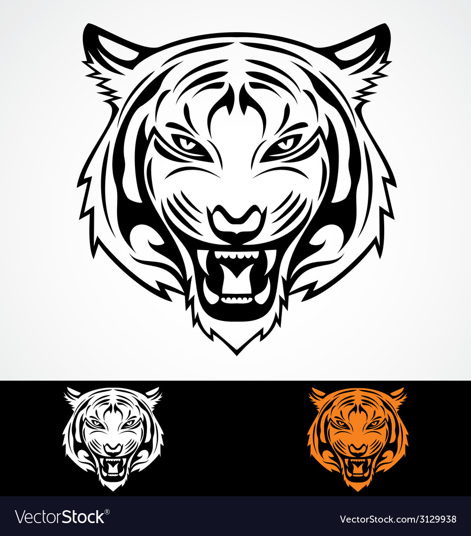 Angry tiger face vector | Price: 1 Credit (USD $1)