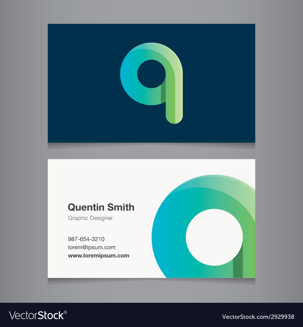 Business card letter q vector | Price: 1 Credit (USD $1)