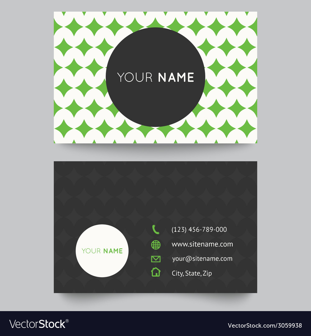Business card template green and white pattern vector | Price: 1 Credit (USD $1)