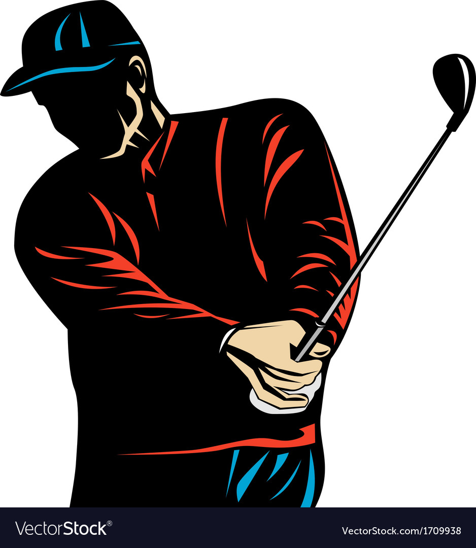 Golfer swinging club woodcut retro vector | Price: 1 Credit (USD $1)