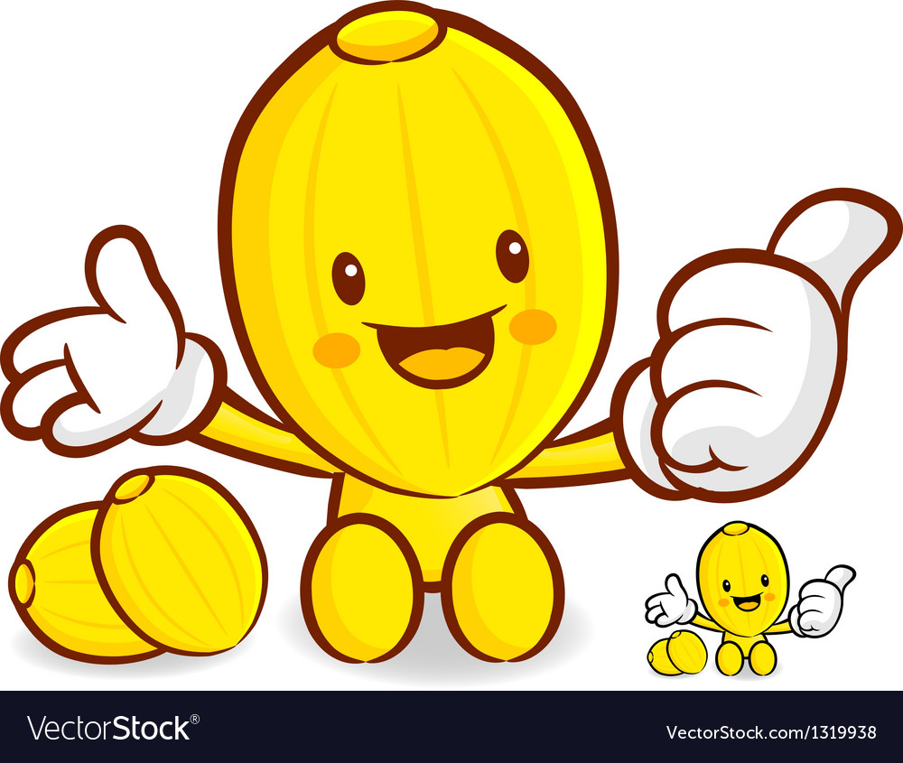 Oriental melon mascot the left hand best gesture vector | Price: 1 Credit (USD $1)