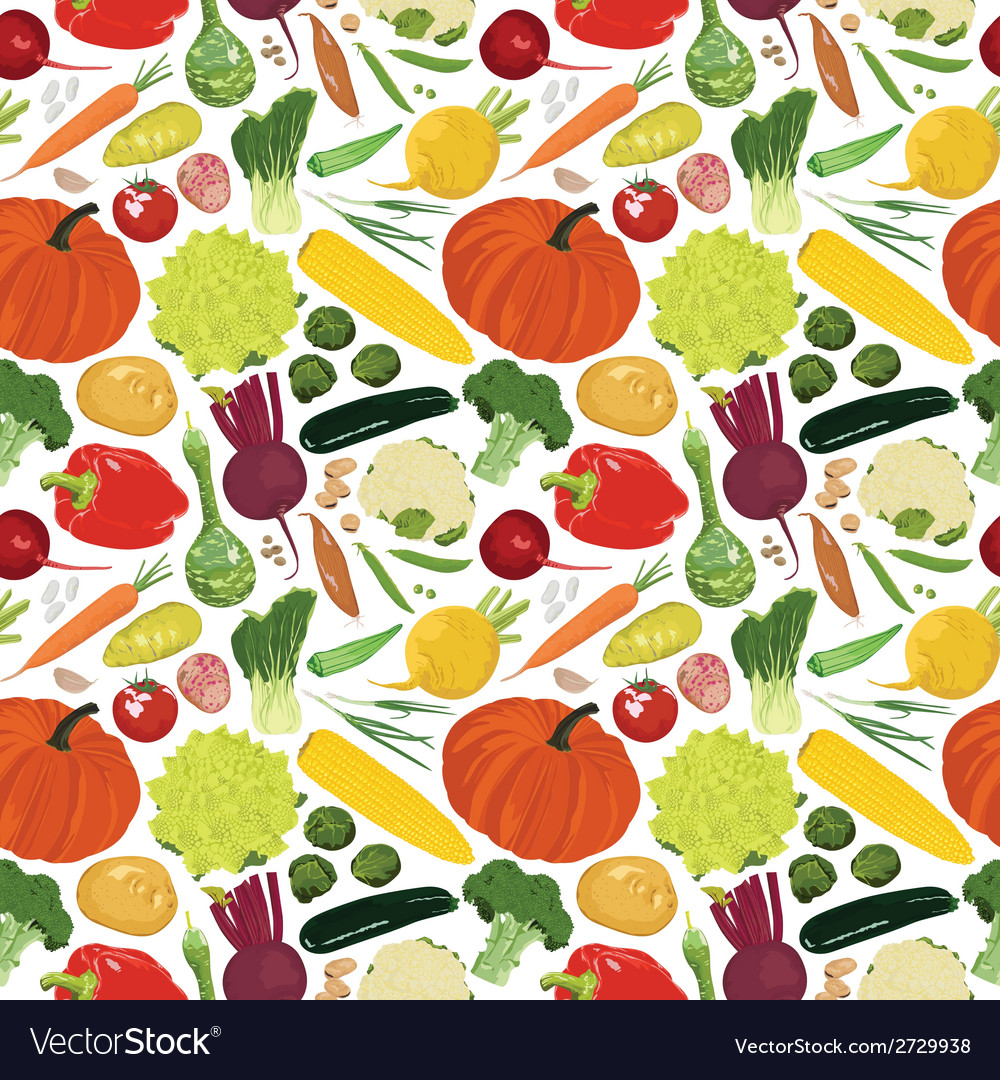 Seamless background with a variety of vegetables vector | Price: 1 Credit (USD $1)
