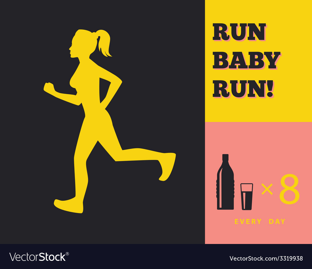Silhouette of a running girl vector | Price: 1 Credit (USD $1)
