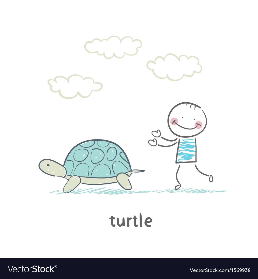 Tortoise and the people vector | Price: 1 Credit (USD $1)