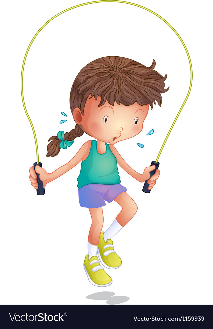 A little girl playing skipping rope vector | Price: 1 Credit (USD $1)
