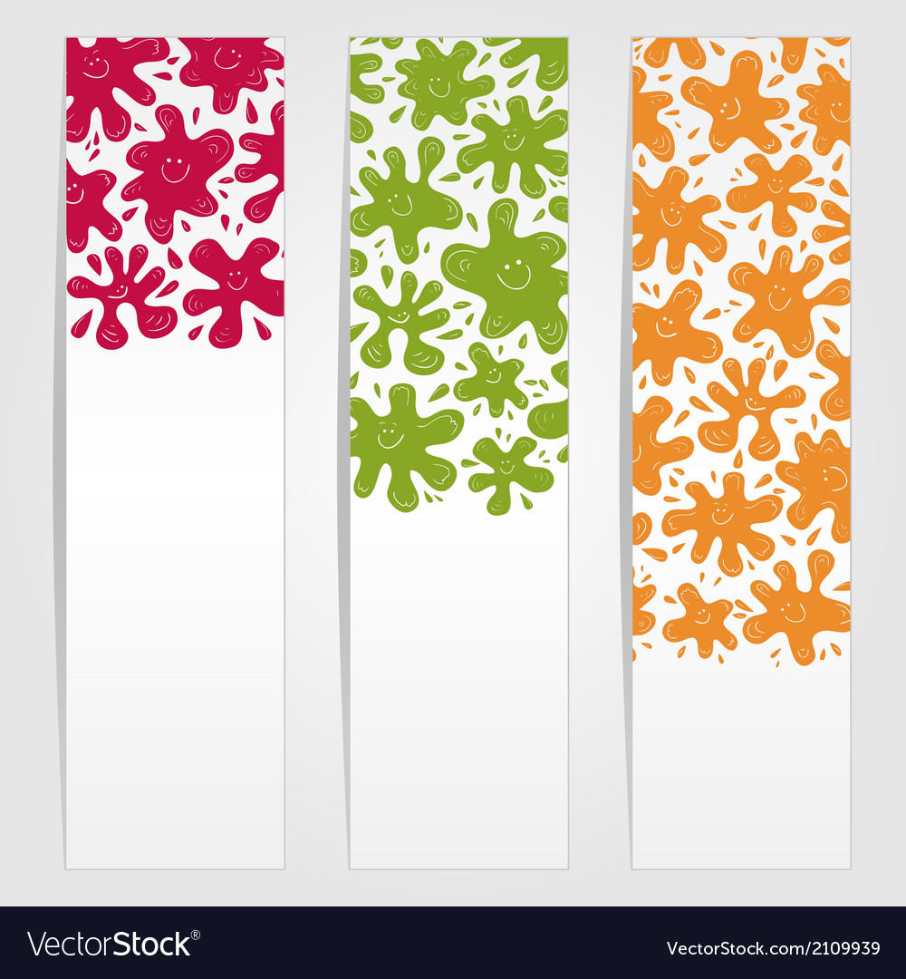 Banners with smiling ink blots vector | Price: 1 Credit (USD $1)