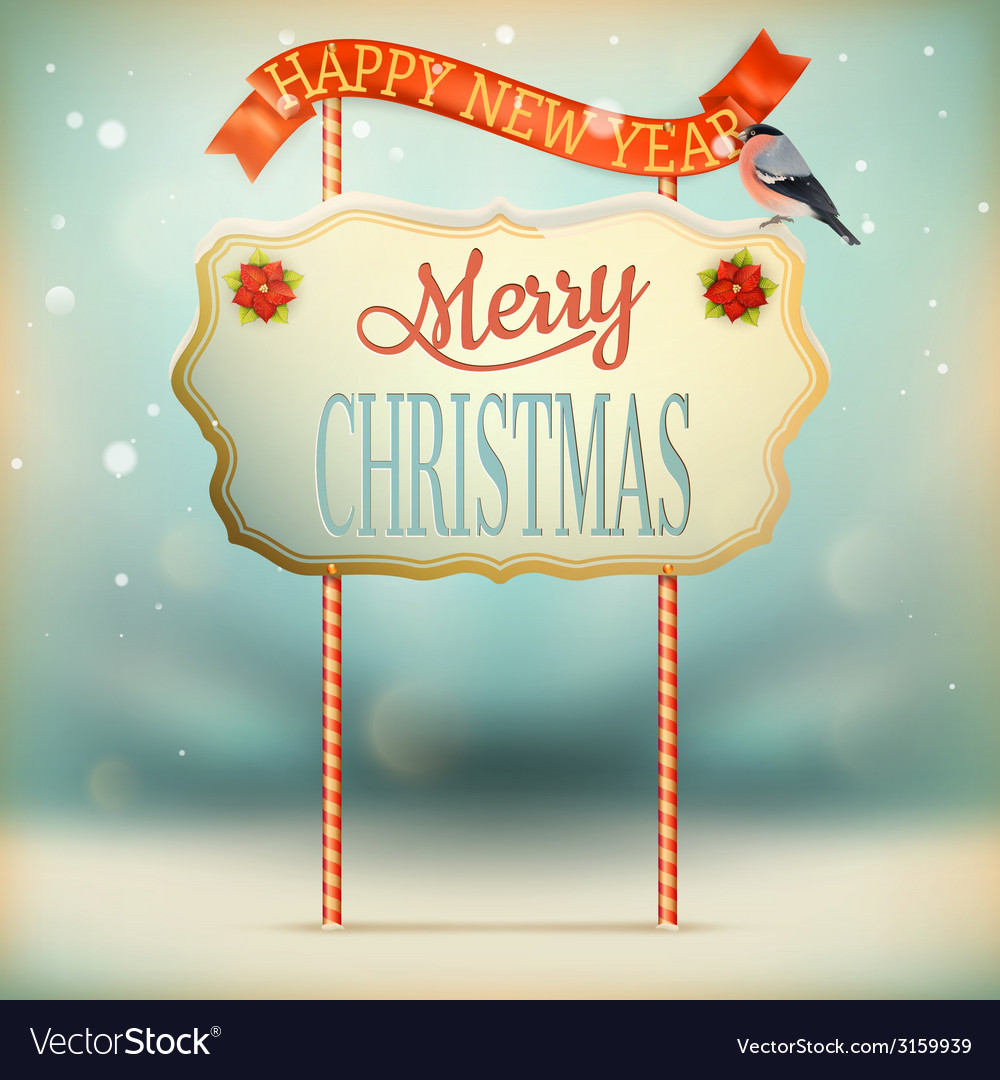 Christmas vintage card with signboard eps 10 vector | Price: 1 Credit (USD $1)