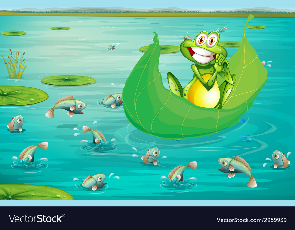 Frog and pond vector | Price: 1 Credit (USD $1)