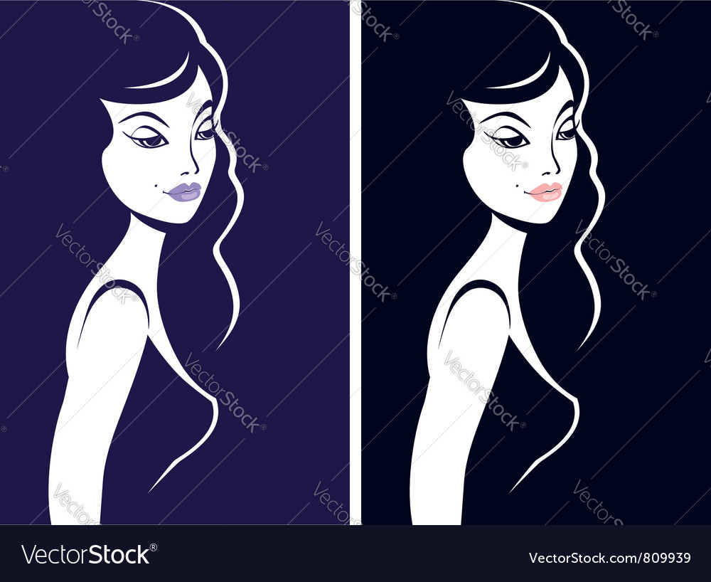 Girl silhouette vector | Price:  Credit (USD $)