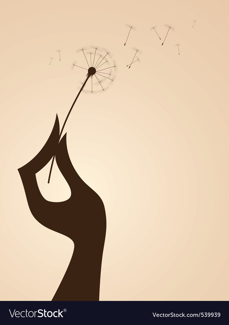 Hand with dandelion vector | Price: 1 Credit (USD $1)