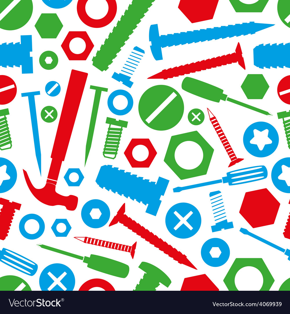 Hardware screws and nails with tools color vector | Price: 1 Credit (USD $1)