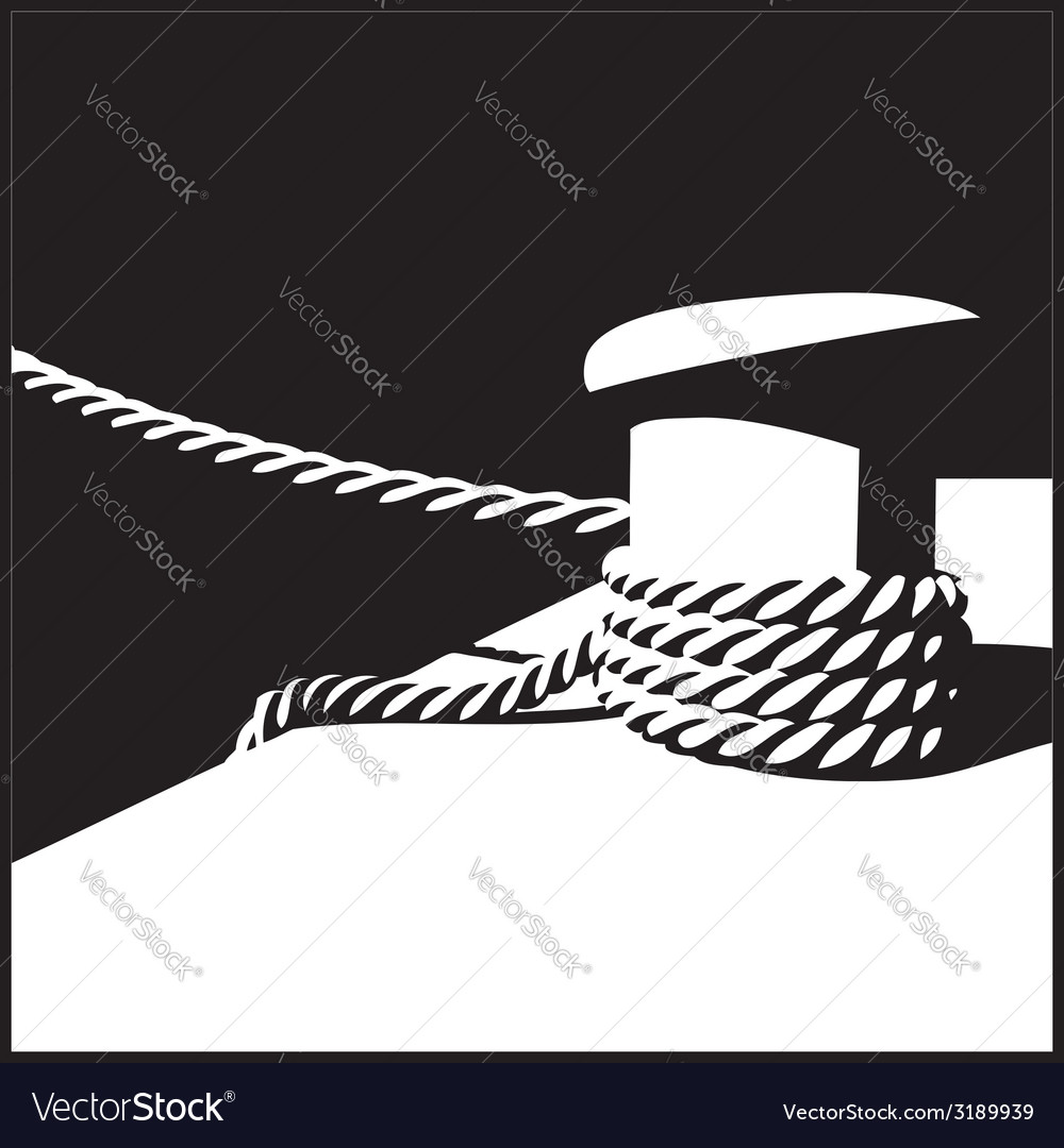 Knecht and mooring ropes black and white vector | Price: 1 Credit (USD $1)