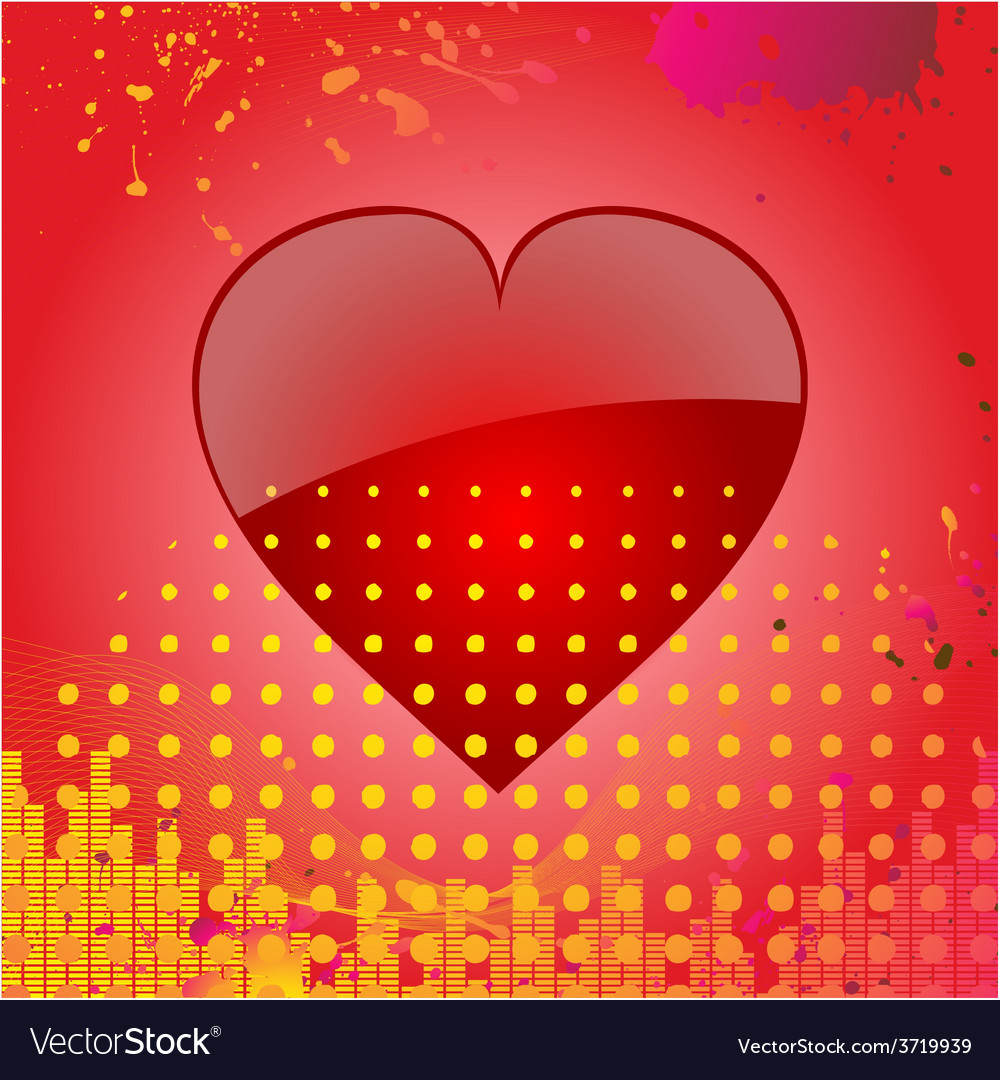 Love heart on abstract red background vector | Price: 1 Credit (USD $1)