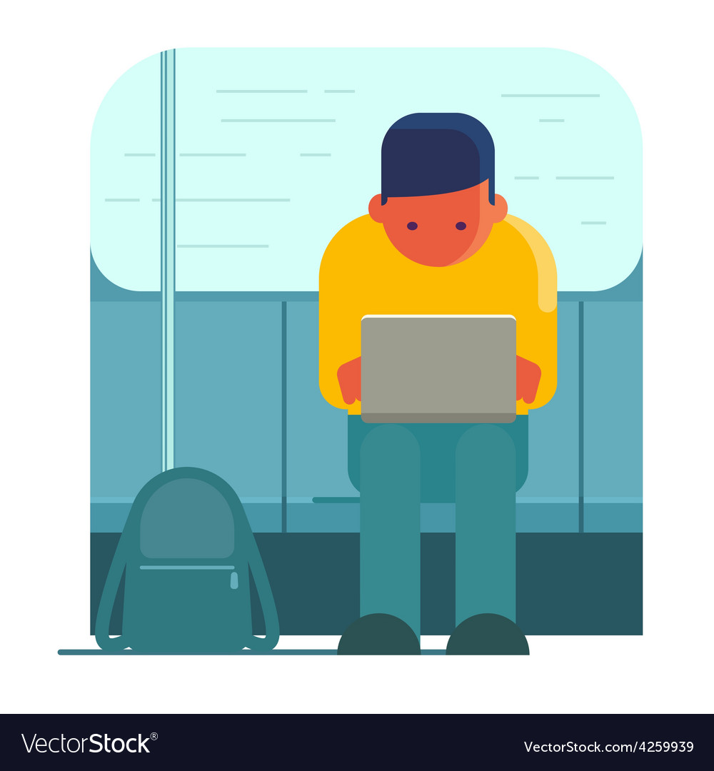 Man working on laptop in public transport vector
