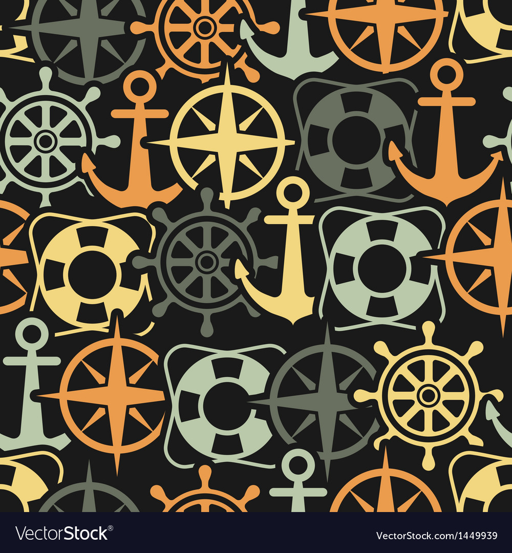 Marine seamless pattern vector | Price: 1 Credit (USD $1)