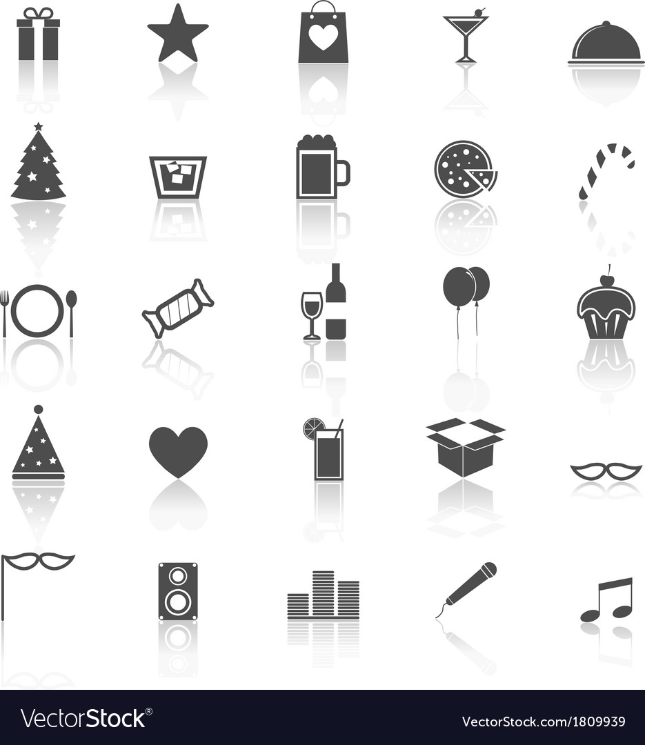 Party icons with reflect on white background vector | Price: 1 Credit (USD $1)