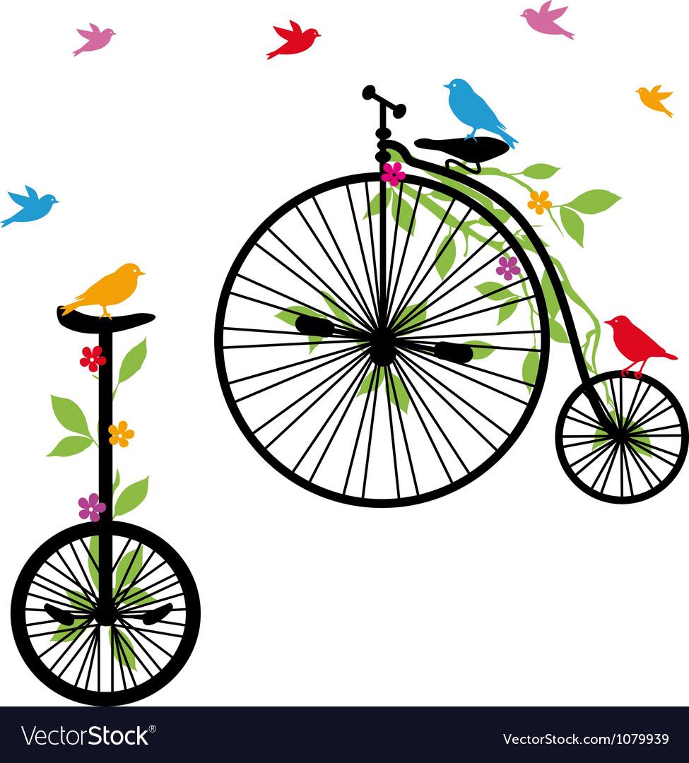 Retro bicycles with birds vector | Price: 1 Credit (USD $1)