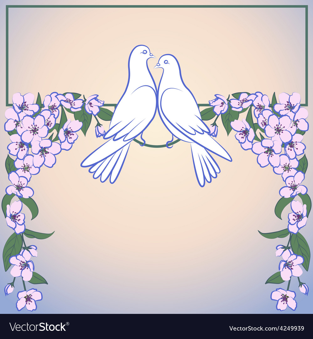 Two white doves and decor of blossoming apple tree vector | Price: 1 Credit (USD $1)