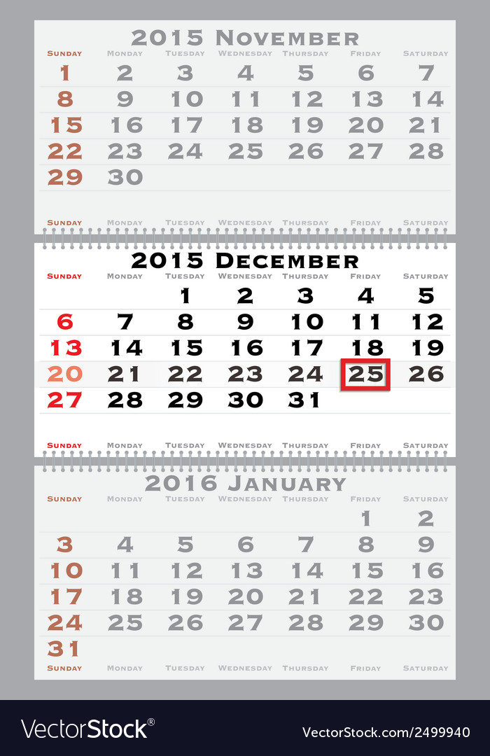 2015 december with red dating mark vector | Price: 1 Credit (USD $1)