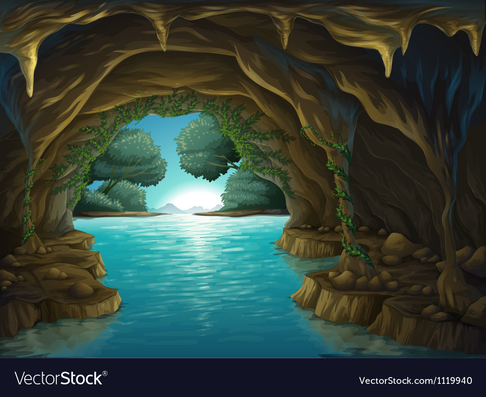 A cave and a water vector