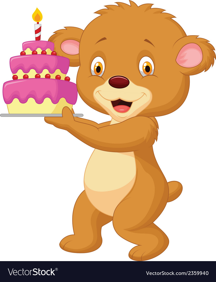 Bear cartoon with birthday cake vector | Price: 1 Credit (USD $1)