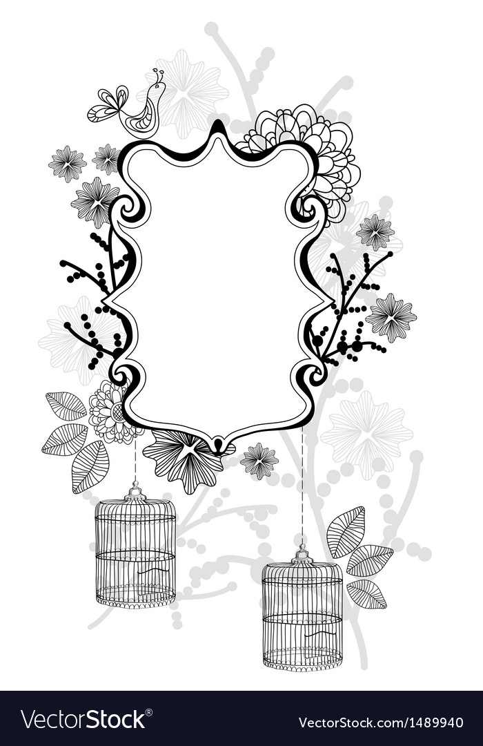 Beautiful label with cage vector | Price: 1 Credit (USD $1)