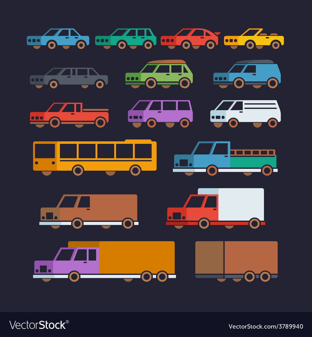 Car types flat icons vector | Price: 1 Credit (USD $1)