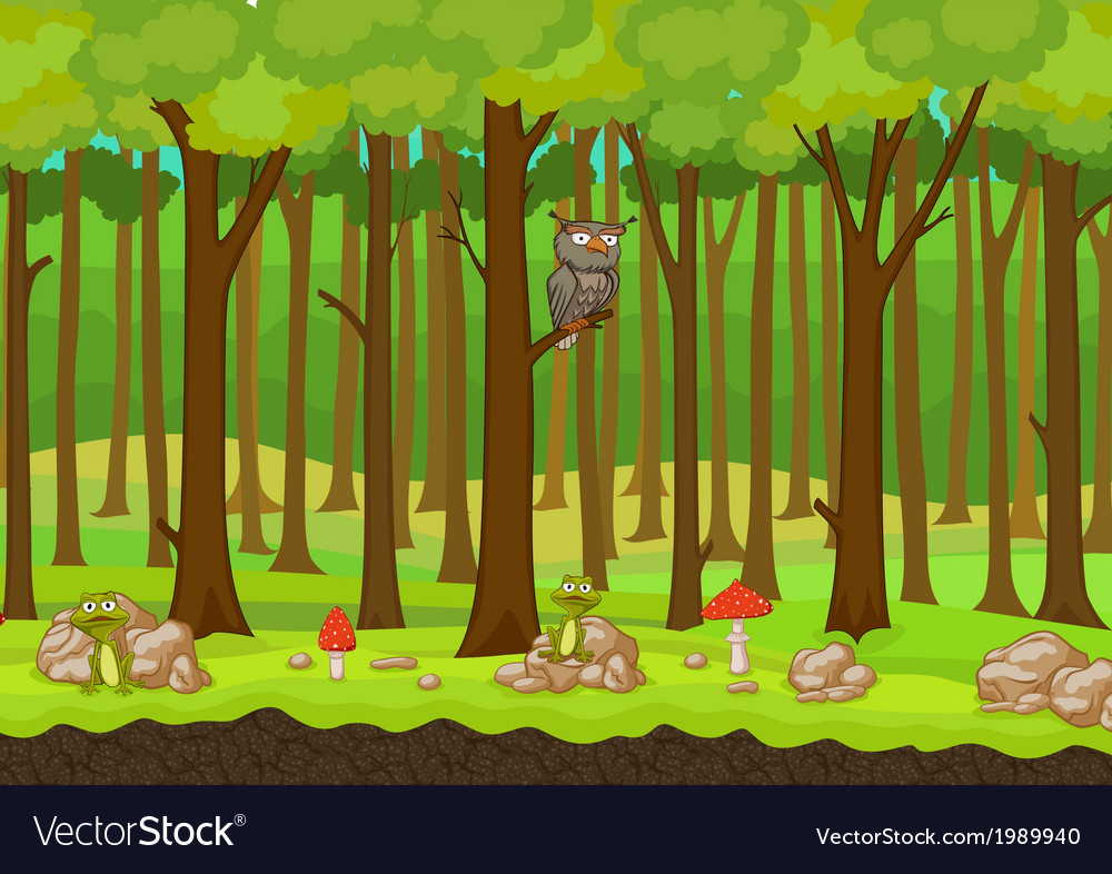 Cartoon forest background vector | Price: 1 Credit (USD $1)