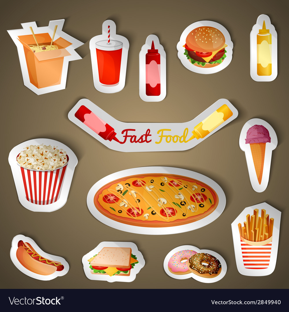 Fast food stickers vector | Price: 1 Credit (USD $1)