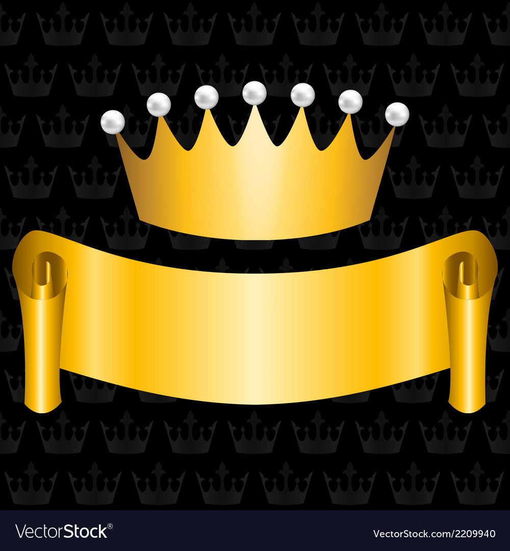 Golden ribbon and crown vector | Price: 1 Credit (USD $1)