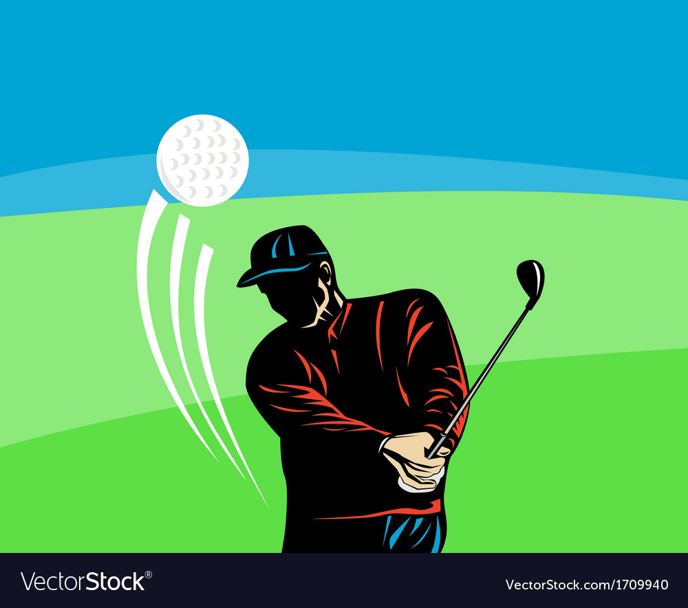 Golfer swinging club retro vector | Price: 1 Credit (USD $1)